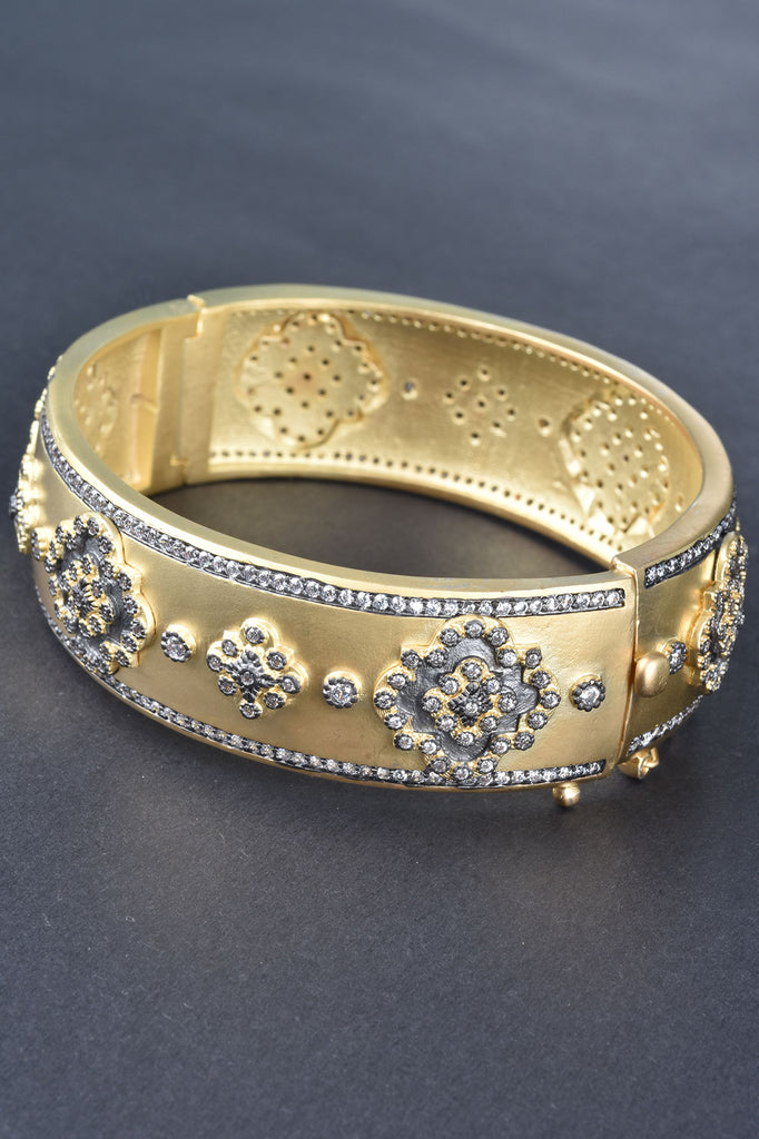 Handmade Couture Inspired Pave Bangle Bracelet