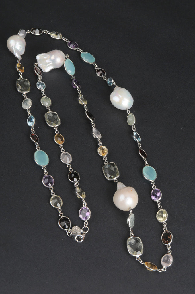 Baroque Pearl and Multi-Gemstone Necklace