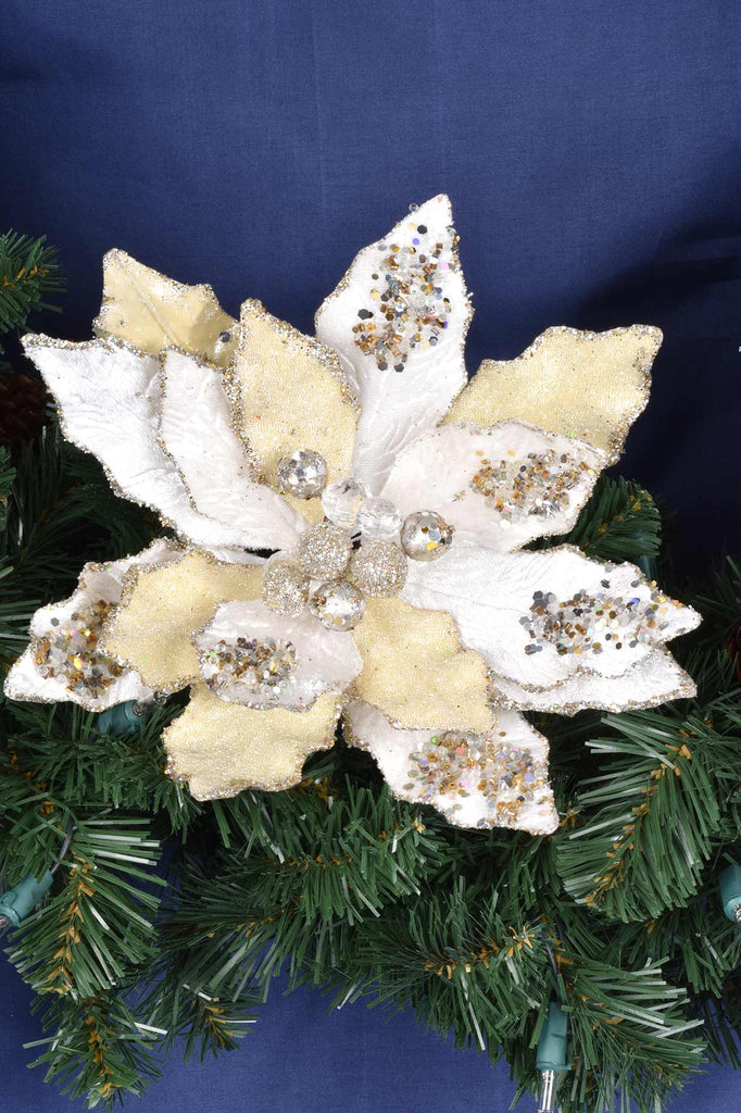 Luxury Champagne Jeweled Poinsettias