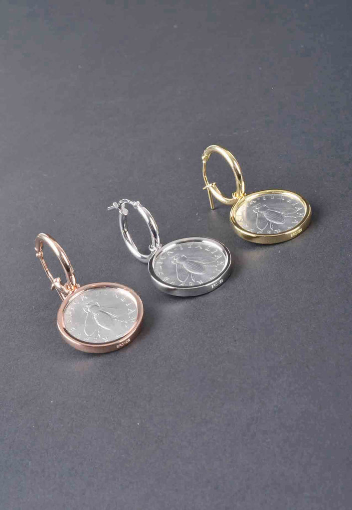 Italian Bee Lire Coin Charm Earrings