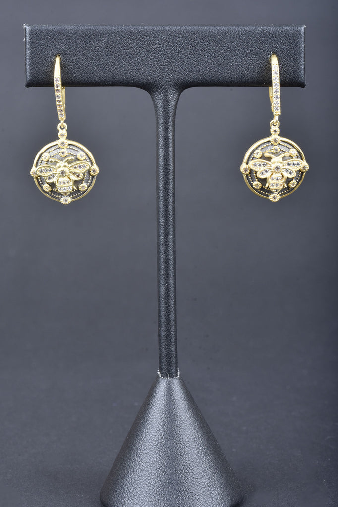 Handmade Couture Inspired Bumble Bee Lever Back Earrings