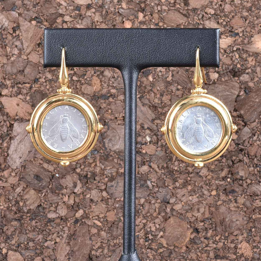 Italian Status Bee Lire Coin Earrings