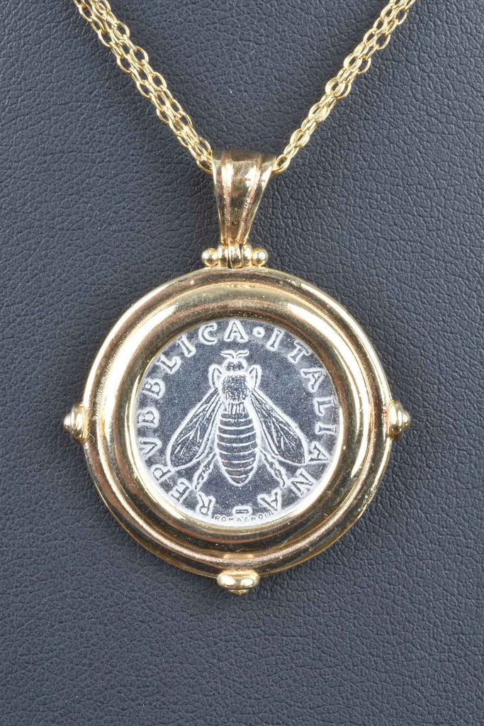 Bee Lire Coin Pendant with Multi-Strand Necklace