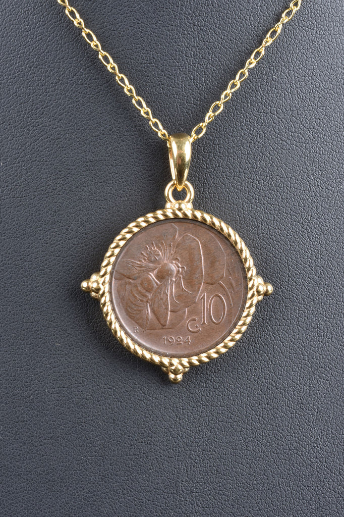Italian Limited Edition Bee Lire Coin Pendant