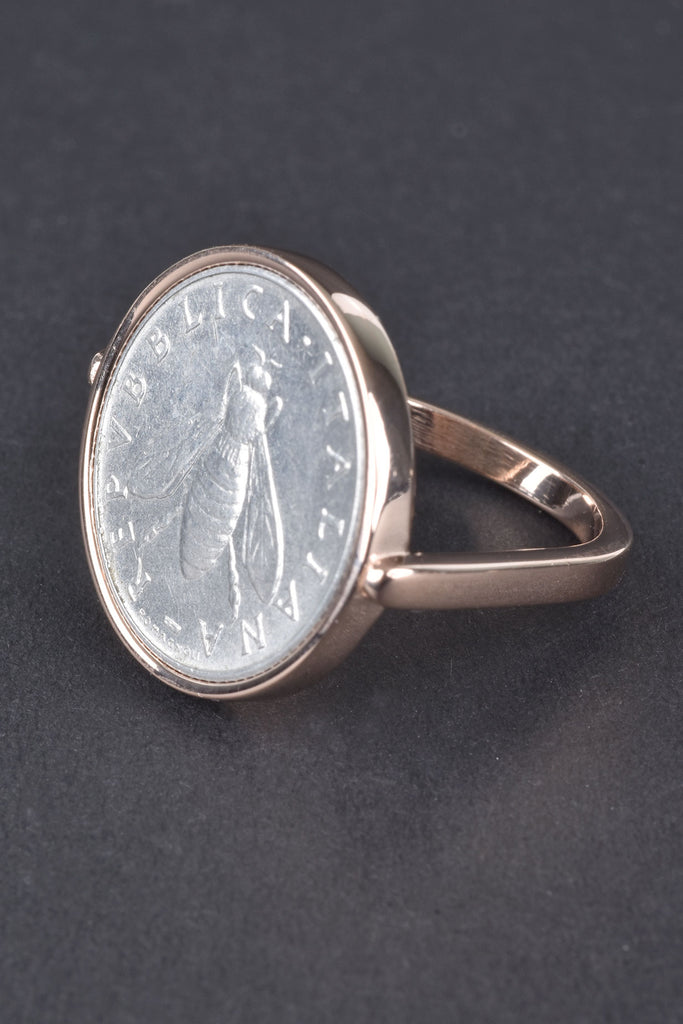 Italian Bee Lire Coin Ring