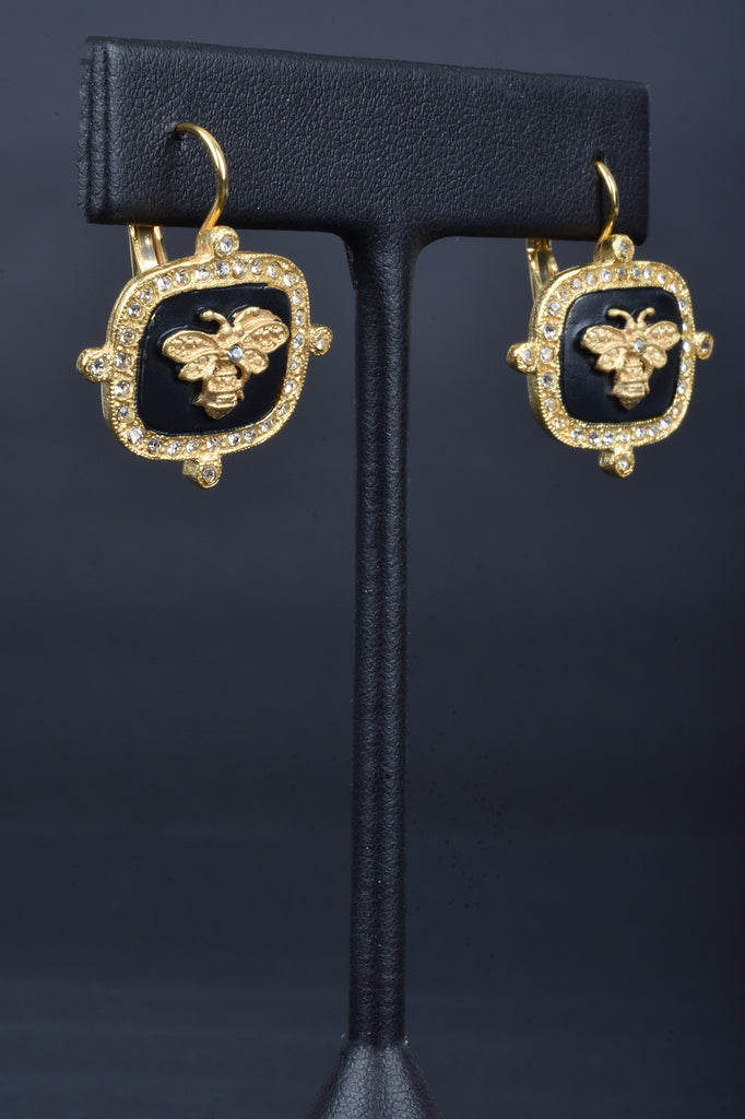 Couture Inspired Handmade Bumble Bee Lever Back Earrings