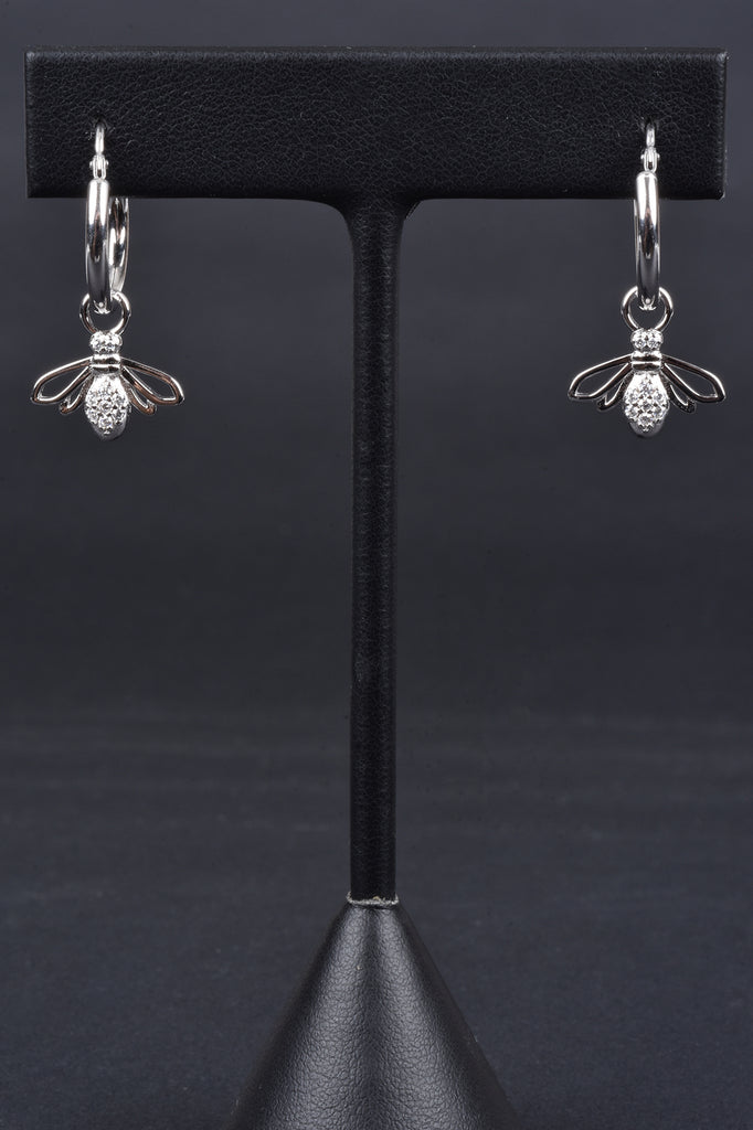 Italian Hoop Earrings with Cross or Bee Charms