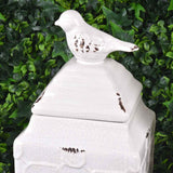 Set of 2 Large Square Ceramic Bird Canisters