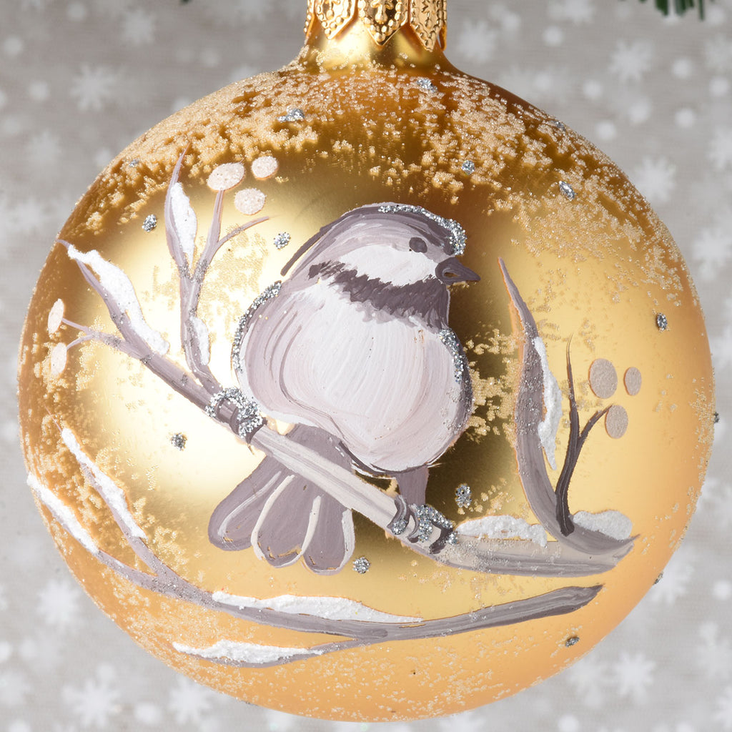 Set of 6 Hand Painted Winter Birds European Glass Ornaments