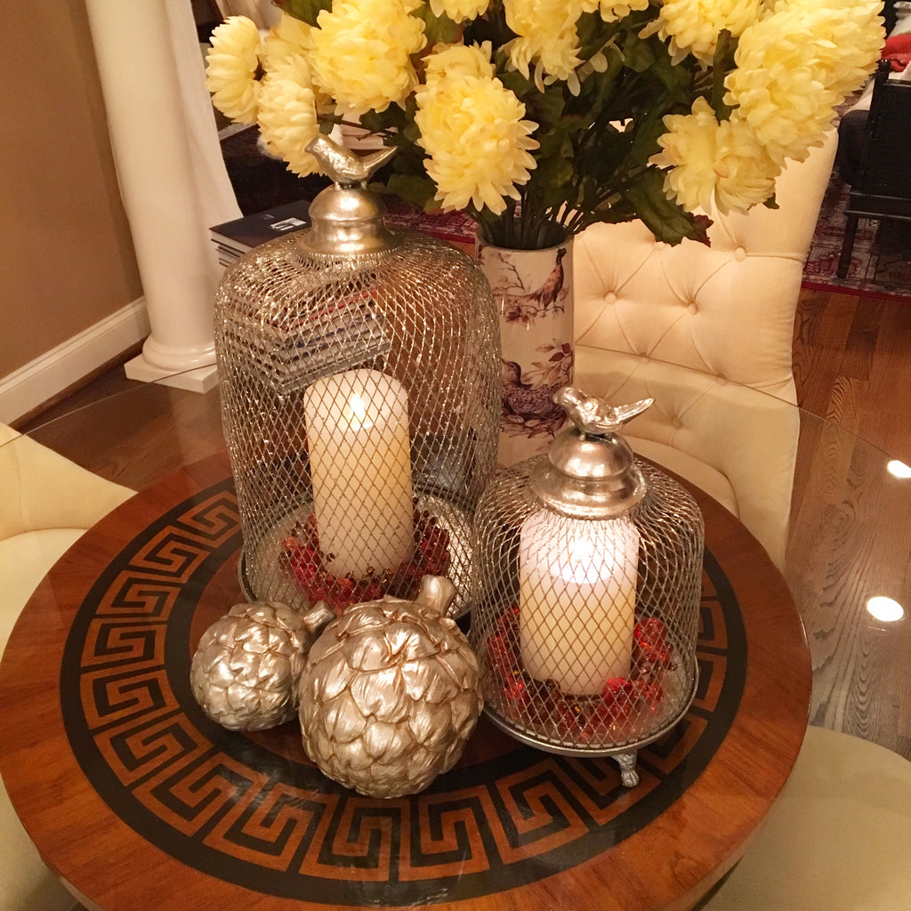 Set of 2 Rustic Glittered Bird Cage Dome Lanterns