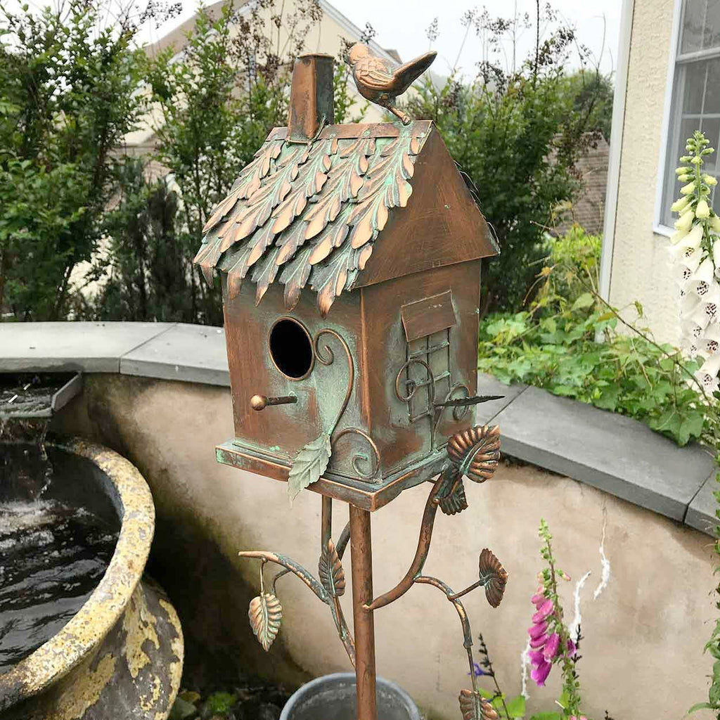 Copper Birdhouse on Stakes