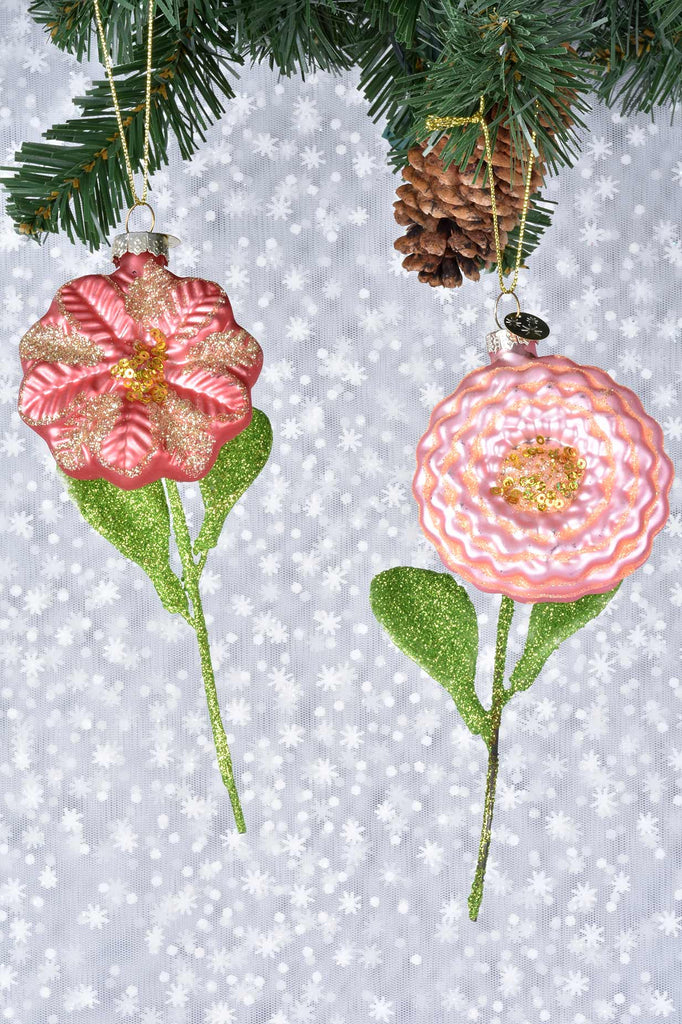 Blooming Flowers Glass Ornaments