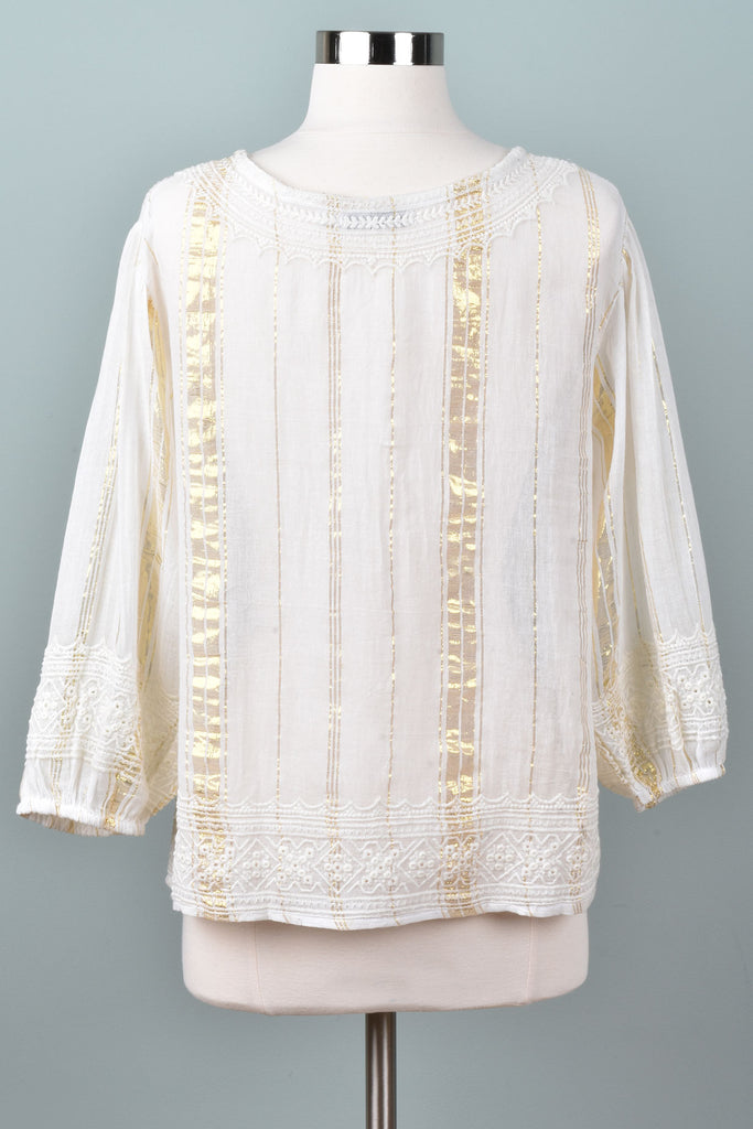 Metallic Thread Peasant Blouse