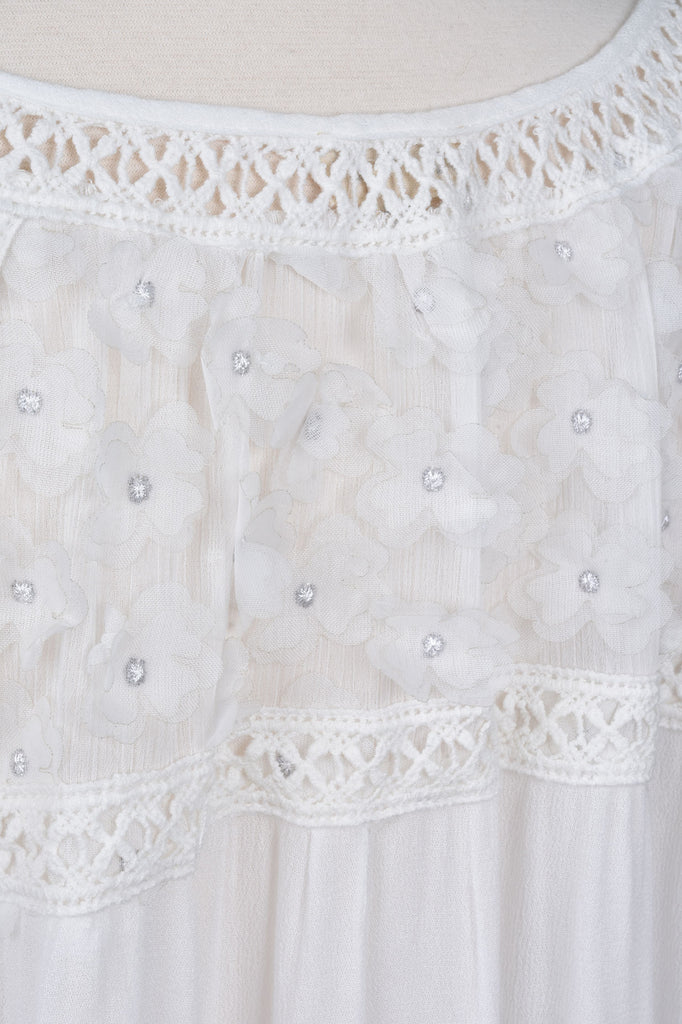 Crochet and Lace Detail Peasant Blouse