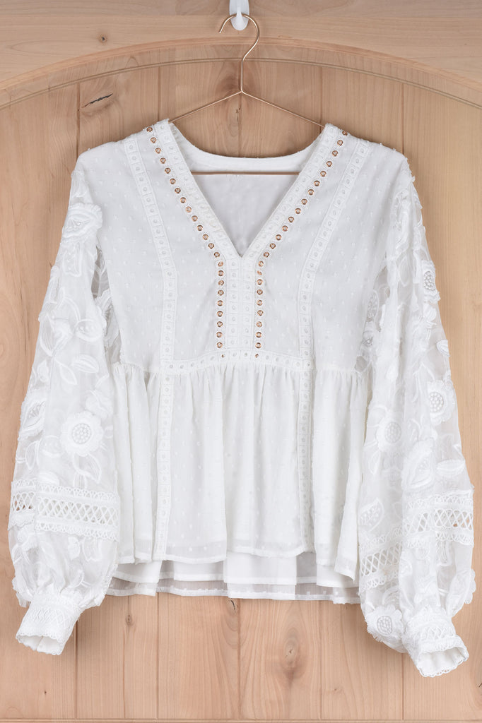 White Blouse with Lace and Grommet Details