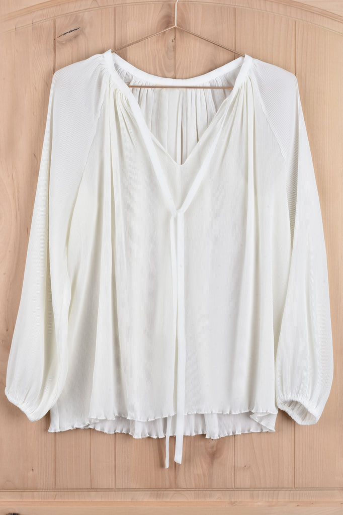 White Fortuny Pleated Blouse