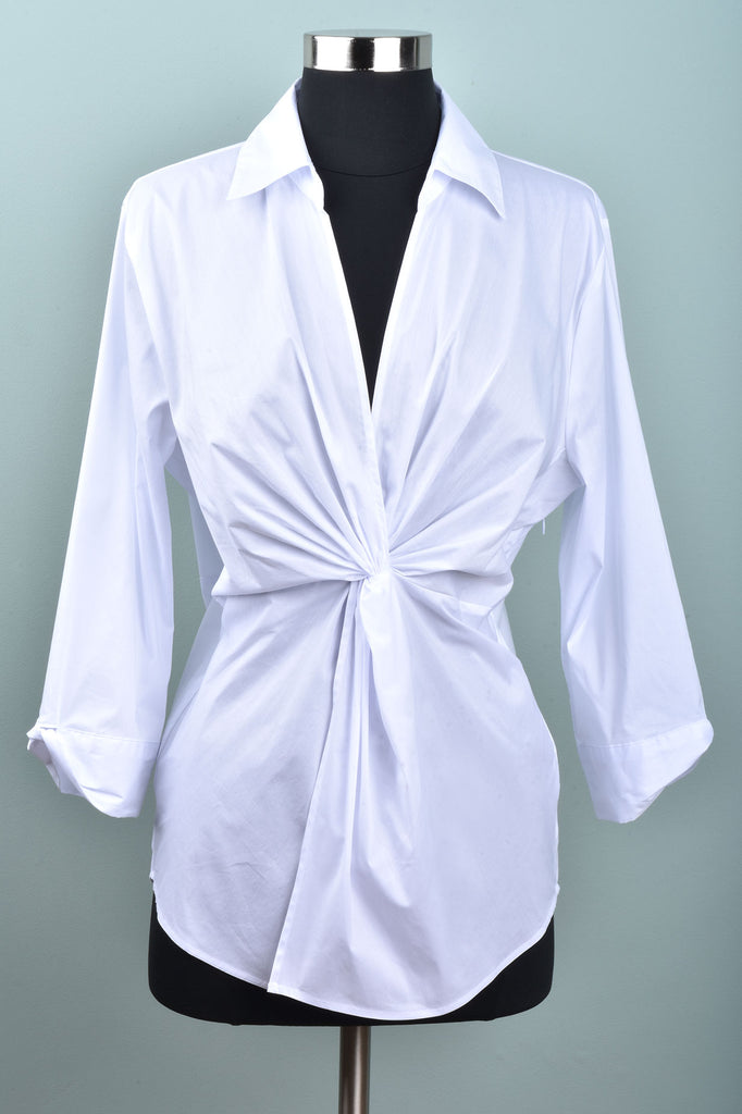 White Wrap Style Tailored Blouse