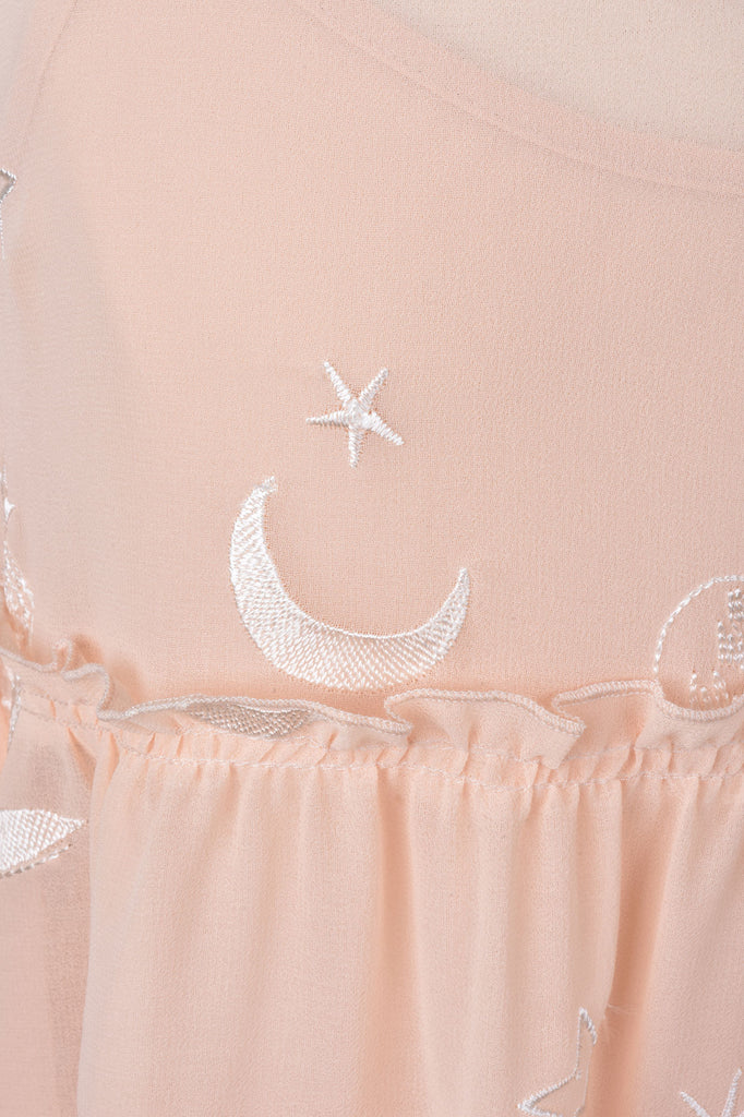Pink Embroidered Ruffle Blouse with Cami