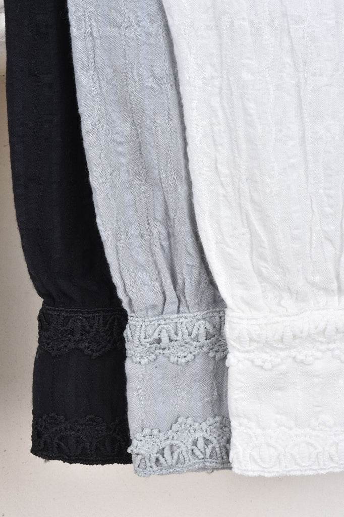 Woven Cotton Top With Lace Trim