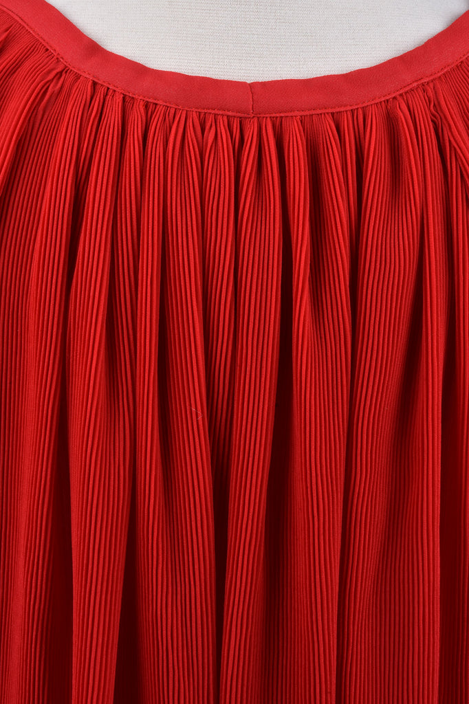 Red Pleated Blouse