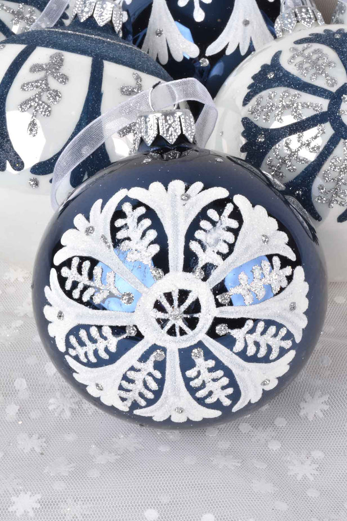 Night Blue and Winter White Folklore Inspired European Glass Ornaments