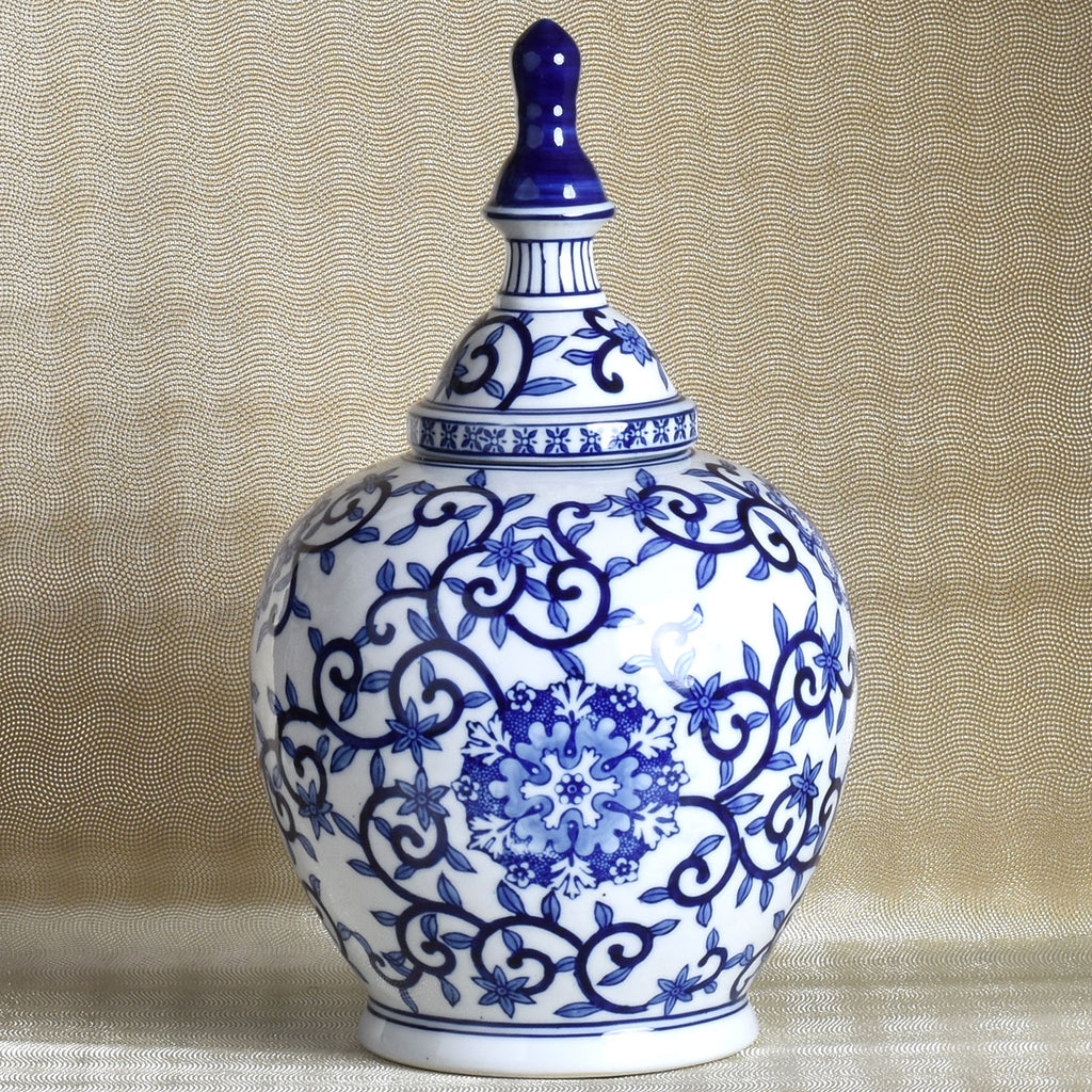 Blue and white porcelain round lidded vase lisa robertson blue and white porcelain round lidded vase reviewsmspy