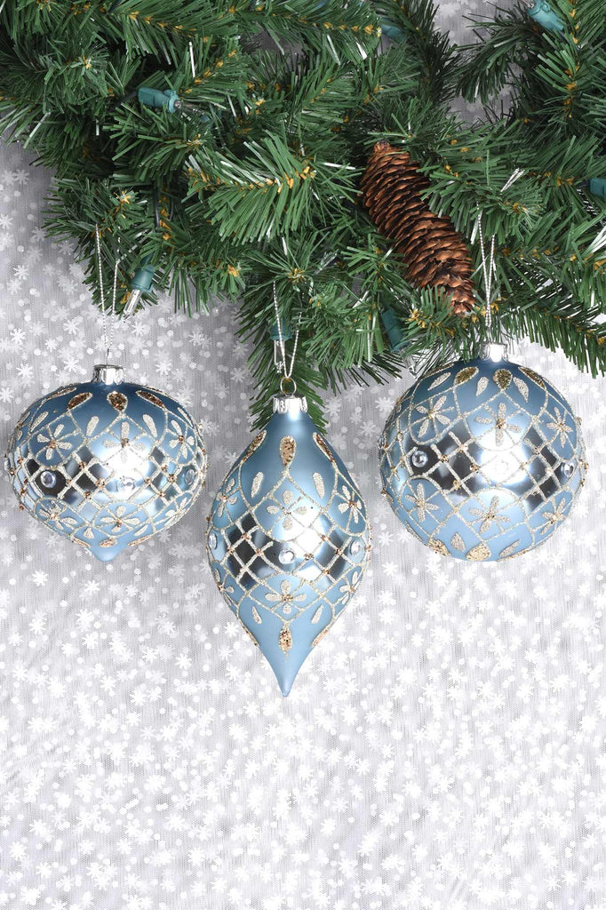 Fancy Light Blue and Champagne Glass Ornaments