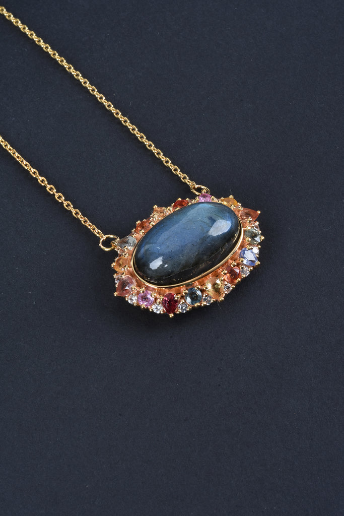 Oval Labradorite with Multi-Sapphire and White Zircon Necklace