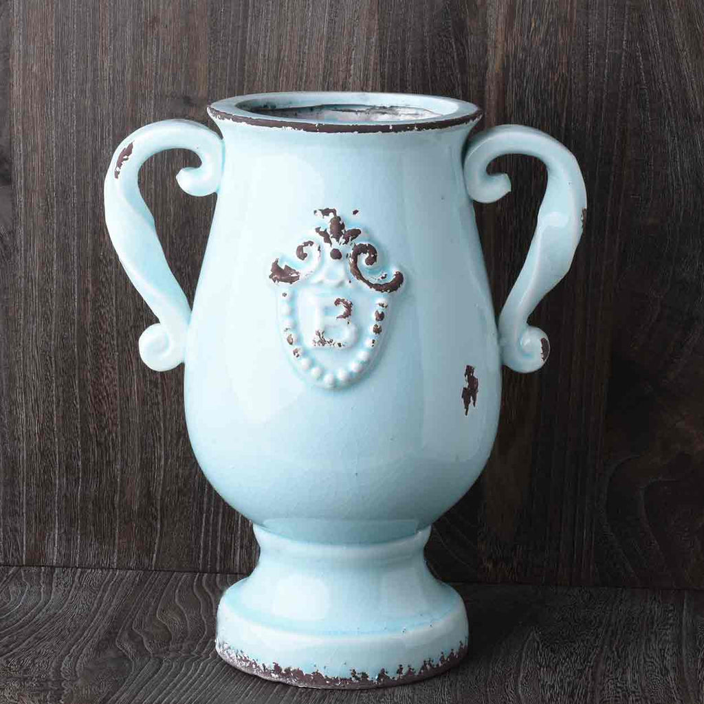 Blue Ceramic Handled Urn with Embossed Crest