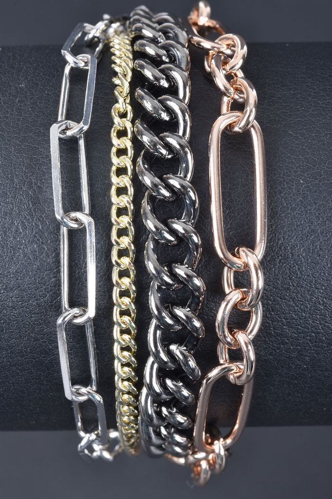 Italian Layered Multiple Chain Bracelet