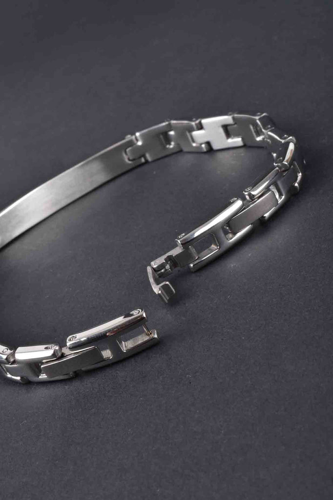 Italian Adjustable Men's Stainless Steel Curved  Station Bracelet