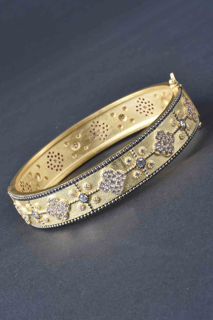 Couture Inspired Pave Flower Design Bangle Bracelet