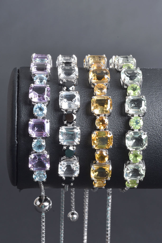 Adjustable Multi-Gemstone Bracelet