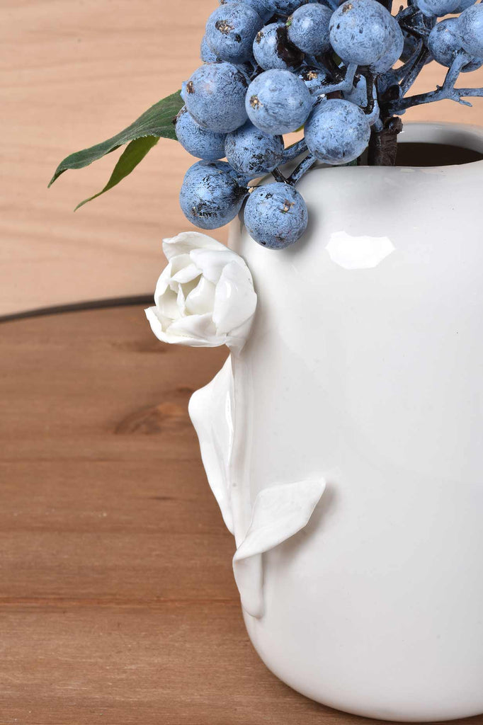White Ceramic Vases w/Raised Flowers