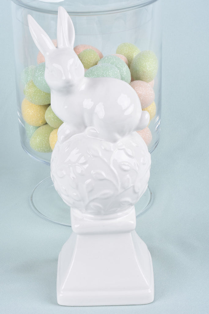 White Ceramic Finials with Bunnies on Top