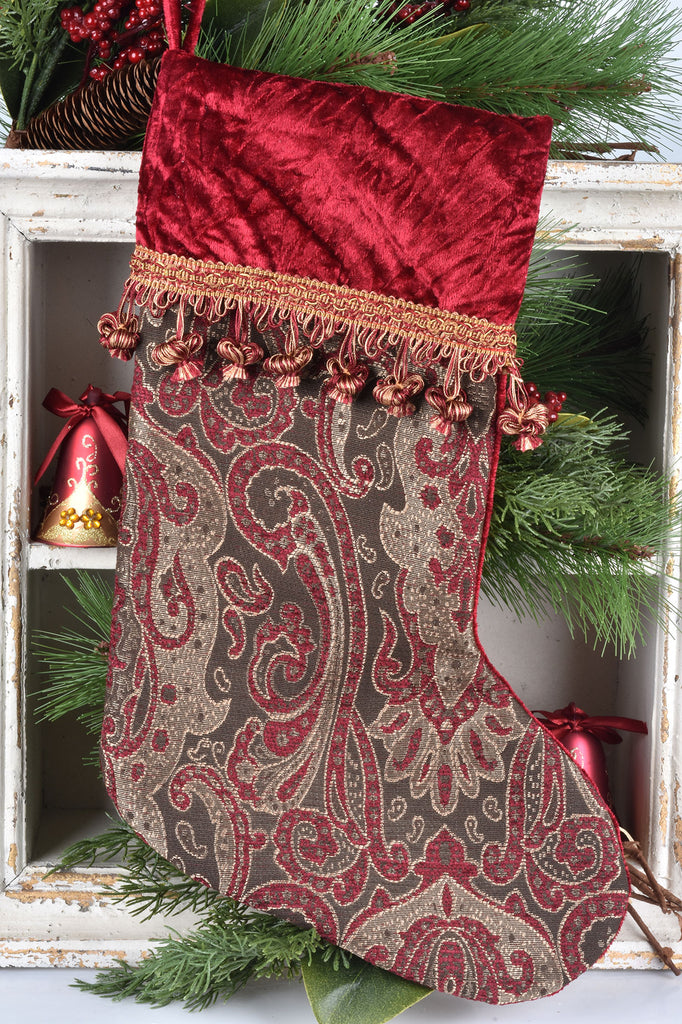 Burgundy Jacquard Stocking