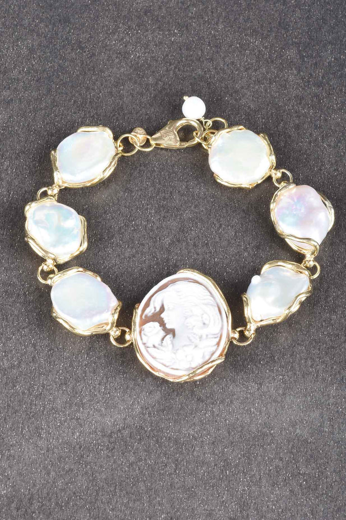 15MM Baroque Pearl And Cameo Bracelet