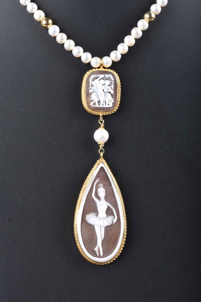Teardrop Carved Cameo and Gemstone Necklace