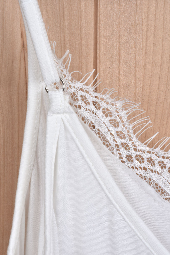 V Neck Cami with Lace Detail