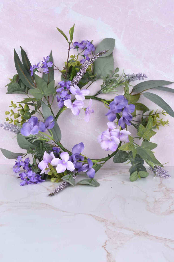 Purple Flowers Candle Ring