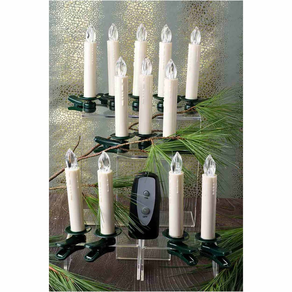 Set of 12 Clip-On Taper Candles with Remote