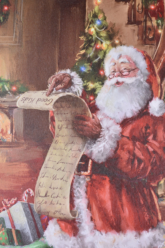 Santa Checking His List Lighted Canvas