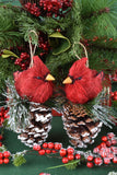 Cardinals on Pinecone Ornaments