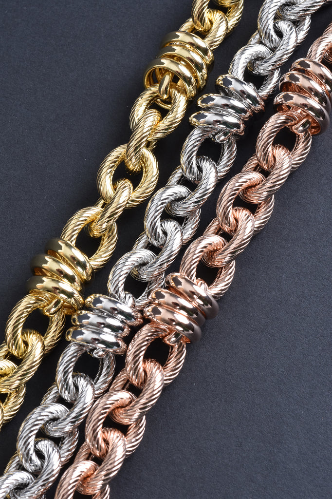 Italian Ribbed and Polished Status Link Bracelet