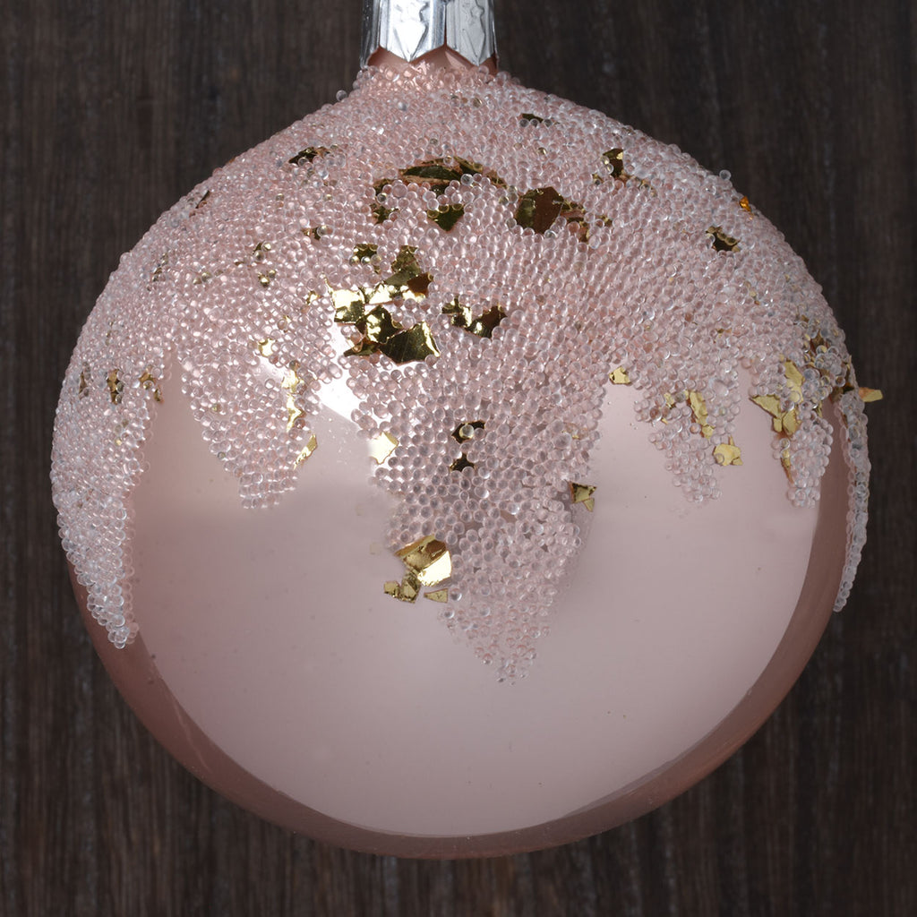 Set of 6 Shimmering Snow Capped European Glass Ornaments