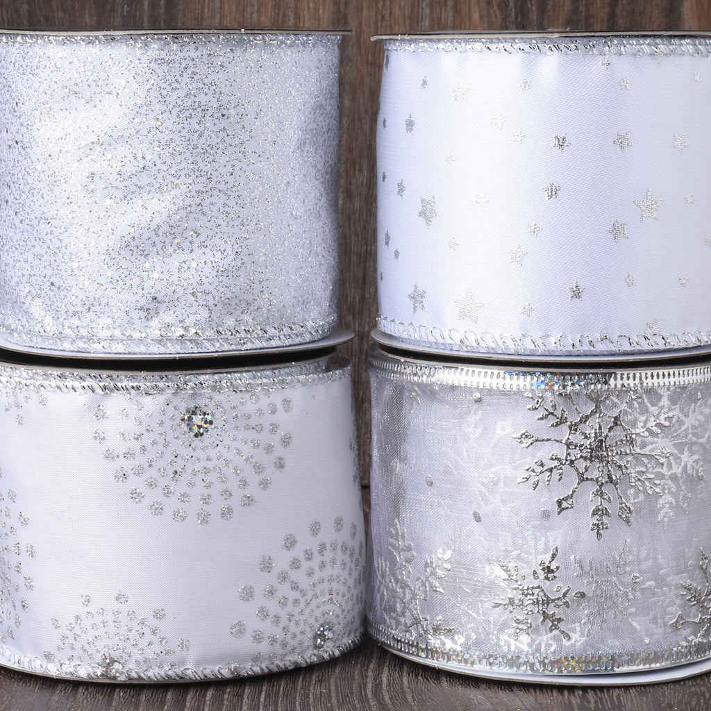 Set of 4 Snowy White Sparkling Wired Christmas Ribbon