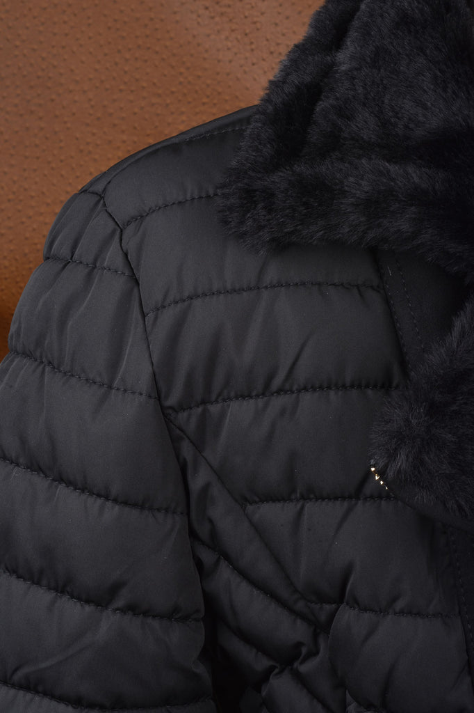 Reversible Faux Fur Trimmed Puffer Coat