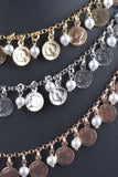 Italian Coin and Pearl Charm Necklace