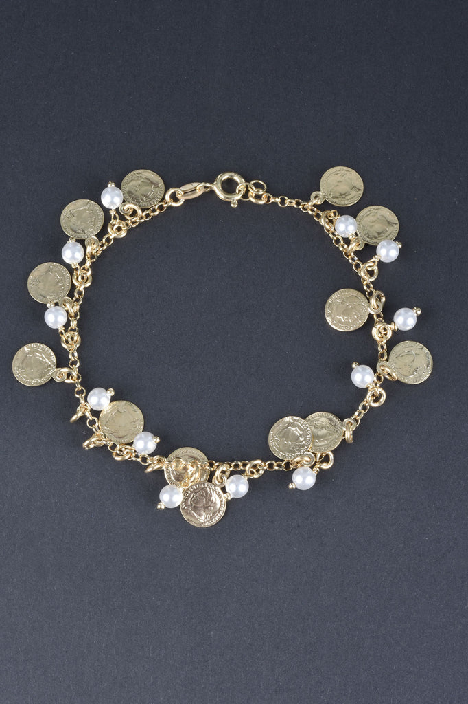 Italian Coin and Pearl Charm Bracelet
