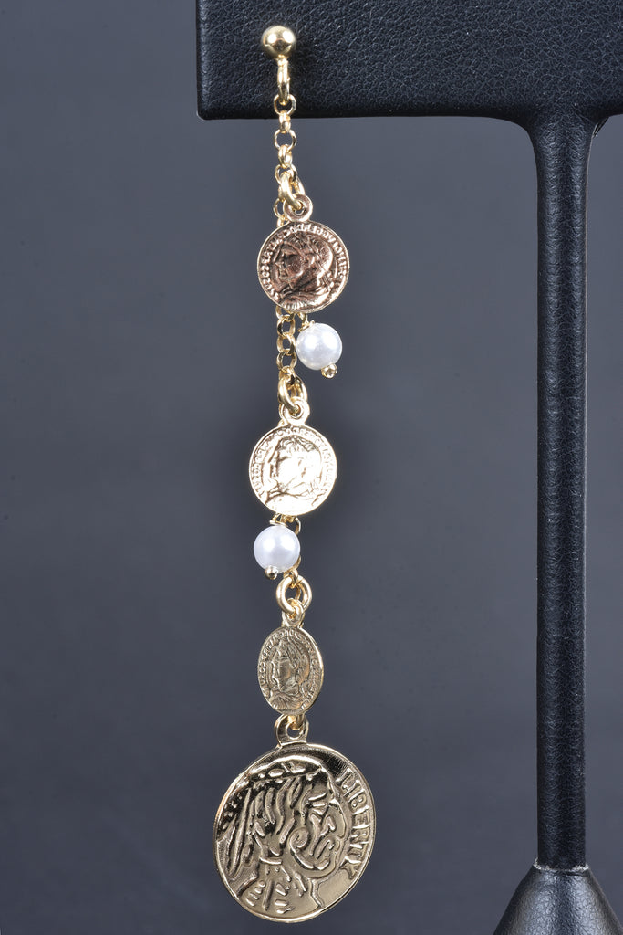 Italian Coin and Pearl Drop earrings